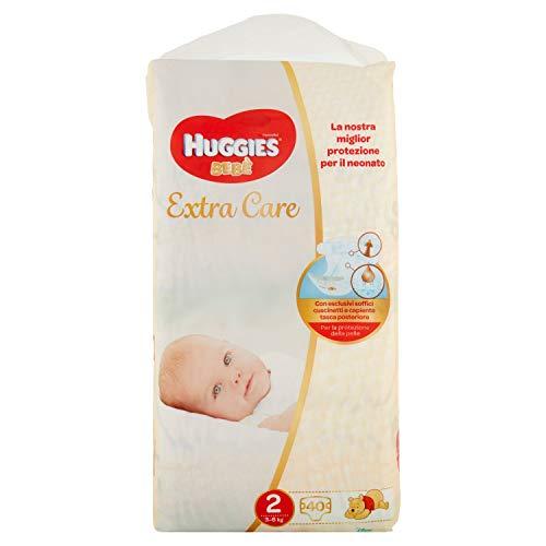 Huggies Huggies Extra Care Bebé, Taglia 2 (3-6Kg), Confezione Da 40 Pannolini - 830