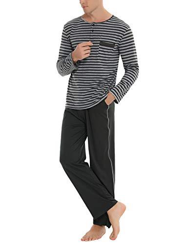 Akalnny Herren Schlafanzug Lang Set Baumwolle Gestreift Zweiteiliger Pyjama Langarm Shirt mit Schlafanzughose Dunkelgrau XL