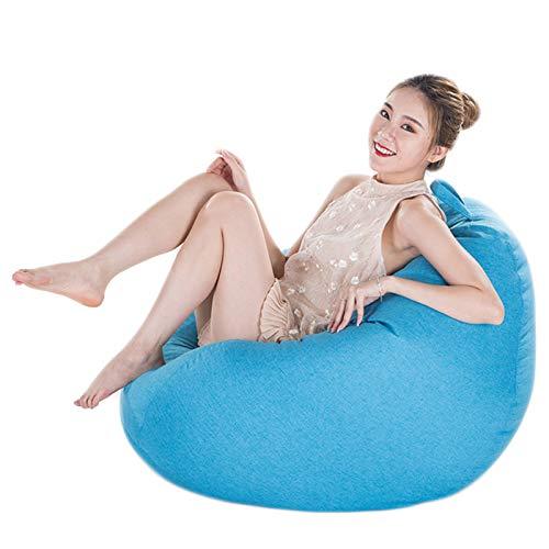 Sitzsack mit Füllung Sitzkissen Luxury Riesensitzsack Bodenkissen Sofa Hocker Sessel Sitzbag BeanBag für Kinder und Erwachsene,Sky Blue,L