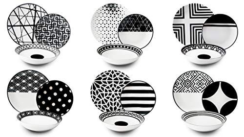 Excelsa Emily - Vajilla de porcelana, blanco/negro, 18 piezas