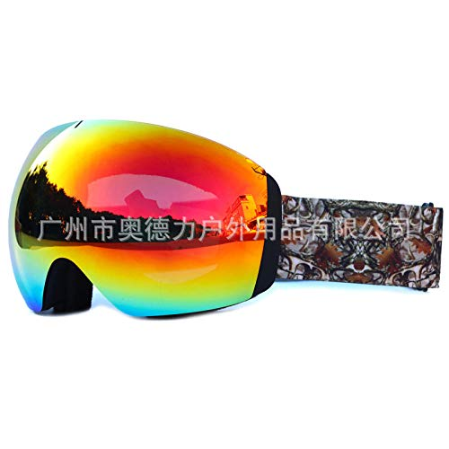 Skibril voor brildragers, grote bolvormige skibril met dubbele anti-condens-veiligheidsbril voor de winter voor mannen en vrouwen
