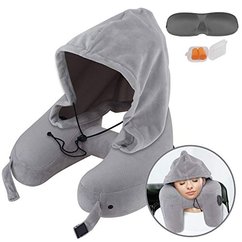 Neck Pillow Inflatable Travel Pillow Comfortably Supports The Head, Neck and Chin, Airplane Pillow with Soft Velour Cover, Hat, Portable Drawstring Bag, 3D Eye Mask and Earplugs (Gray)