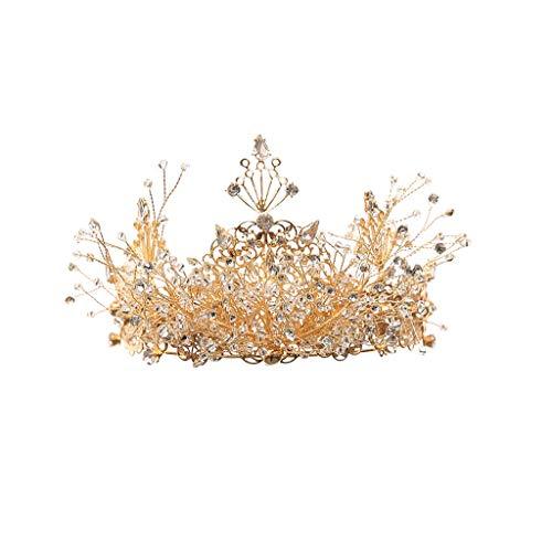 WGZ Corona Tocado Adulto Novia Boda Corona Accesorios de Boda Princesa Cumpleaños Lujo Accesorios (Color : Gold)