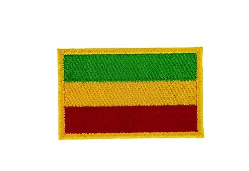 Akachafactory Gesticktes-Aufnäher Patch Flagge Backpack Äthiopien Rasta zum Aufbügeln
