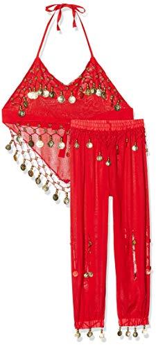 The Turkish Emporium - Costume da Odalisca per bambina- Vestiti da ballo per Halloween, colore: rosso