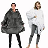 Catalonia Oversized Hoodie Blanket Sweatshirt,Comfortable Giant Pullover with Large Front Pocket,for Adults Men Women,Pack of 2(Sherpa+Fleece)