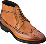 CALTO Men's Invisible Height Increasing Elevator Shoes - Brown Premium Leather Lace-up Wing-Tip Dress Boots - 2.8 Inches Taller - S27002 - Size 9 D(M) US