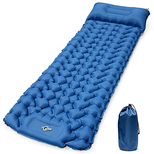 Pulax Camping Sleeping Pad, Extra Thickness 3.6 Inch Inflatable Camping Mat for Backpacking, Hiking - Built-in Pump, Compact, Ultralight and Waterproof Camping Air Mattress with Pillow
