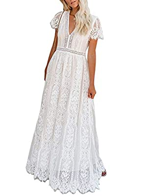 Bdcoco Women's V Neck Floral Lace Wedding Dress Short Sleeve Bridesmaid Evening Party Maxi Dress by