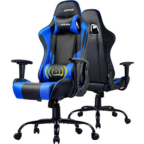 GTPOFFICE Gaming Chair Massage Office Computer Chair for Adult Reclining Adjustable Swivel Leather Computer Chair High Back Desk Chair Headrest and Massage Lumbar Support Cushion(Blue) blue chair gaming