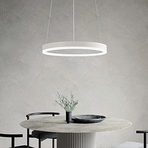 Moderna lámpara de techo LED, iluminación colgante regulable, color blanco, 20 W, para salón, comedor, dormitorio