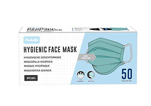 Mascarilla facial de 3 capas Tipo IIR con 98% de filtración, Marcado CE (Paquete de 50 unidades)
