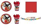 Party Store web by casa dolce casa Bing Coordinato ADDOBBI Festa - Kit n°19 CDC-(8 Piatti 23 CM,8 Bicchieri,50 TOVAGLIOLI Rossi,1 Ghirlanda)