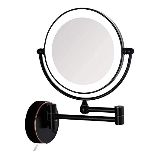 HGXC Makeup Mirror Wall Mounted 8inch, Round Makeup Mirror with Light, Perfect for Bedroom Dressing Table or Bathroom Vanity