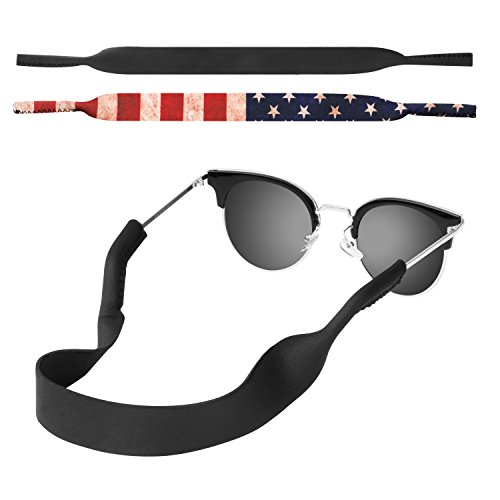 MoKo Neoprene Eyewear Retainer, [2 Pack] Universal Fit No Tail Sports Sunglasses Retainer, Sunglass...