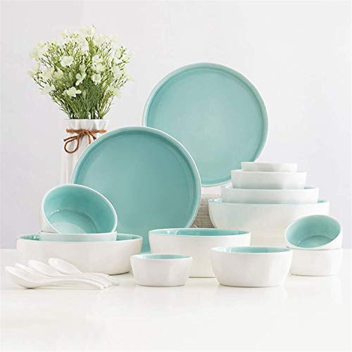 XUSHEN-HU Juego de vajilla de cerámica (18 piezas), tazón/plato/cuchara, juego de vajilla azul fresco, conjunto de combinación de porcelana de estilo minimalista nórdico vintage