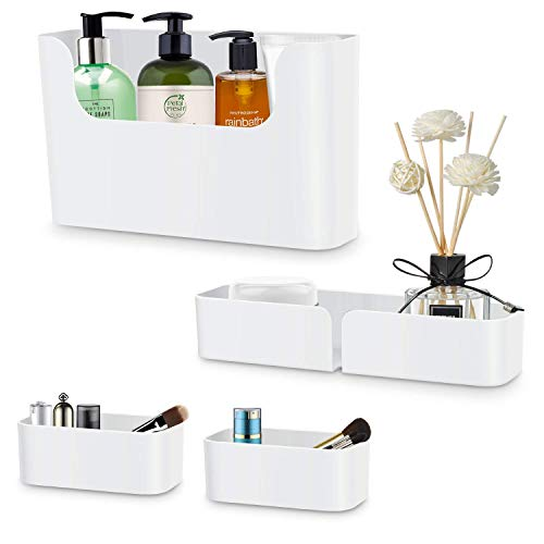 Fittoway Bathroom Shower Caddy, White Wall Mounted Non-Drilling Adhesive Plastic Floating Shelf Organizer for Kitchen Bathroom Bedroom(Set of 4) (White)