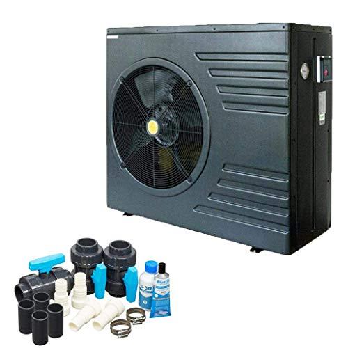 well2wellness Bomba de calor para piscina Mida.Black 11, con una capacidad de calefacción de hasta 10,7 kW a un precio especial Plus Bypass Set Basic + cubierta