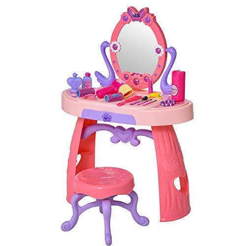 homcom Postazione Trucco Giocattolo Rosa, Tavolo da Toeletta per Bambini 3+ Anni con Accessori Inclusi, 49.5x23.5x69.5cm