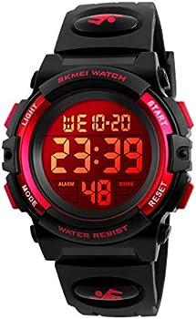 eYotto Kids Digital Sports Waterproof 7-Color Led Backlight Wristwatch