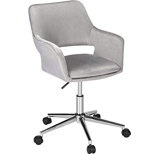 ECOTOUGE Home Velvet Desk Chair for Home Office, Cute Soft Hollow Mid-Back Task Swivel Chair Height Adjustable, Upholstered w/Armrest and Wheels for Living Room/Study Room, Silver Metal Base, Grey