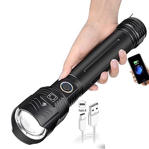 Wwman Linterna Táctica Recargable USB Súper Brillante Zoom LED, 5 Modos, Impermeable IPX6, 3000 Lúmenes, Linternas con Interfaz Dual, Antorcha de Mano para Camping, Senderismo, Militar, Emergencia