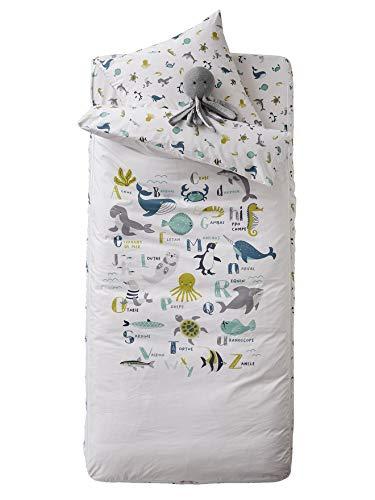 Vertbaudet Schlafsack-Set,Meerestiere ohne Decke wollweiß/Tiere 90X190