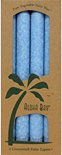 Aloha Bay Palm Tapers Light Blue Candles, Unscented, 4 Count