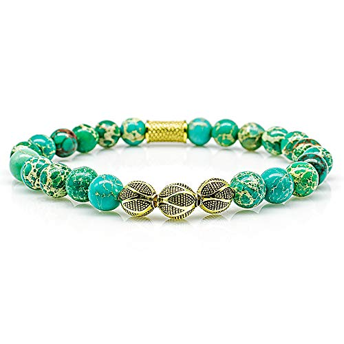 Angelo Silenzio Perlenarmband Green Imperial Jaspis Perlen Excelsior Gold 925 Sterling Silber (21, Modell A)