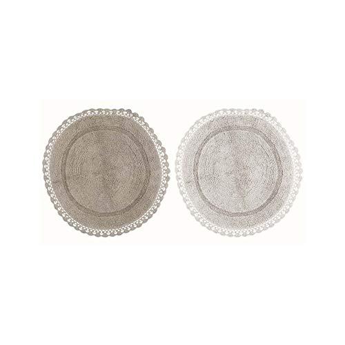 Blanc Mariclo Alfombra redonda con crochet 2 variantes Ø80 cm A29979 gris
