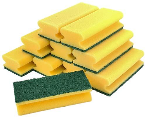 Profi Qualität XL Topfreiniger Jumbo - Schwamm - Spülschwamm - Reinigungsschwamm - 15,5 x 6,8 x 4 cm - gelb/grün (10er Pack)