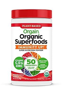 Orgain Organic Superfoods + Immunity Up! Powder, Honeycrisp Apple - Includes Vitamins C & D, Zinc, 1b probiotics, Non-GMO, Certified Plant Based, 9.9 oz