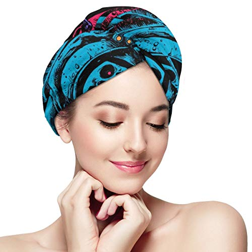 Octopus Sugar Skull Unique Spaceman Microfiber Dry Hair Cap for Bath Spa Soft Super Absorbent Quick Drying Towel Wrap Wet Hair Turbans 28 inch X 11 inch