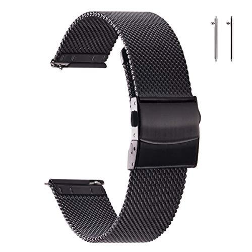 EACHE Cinturini per orologio in maglia di acciaio inossidabile nero da 22 mm per uomo Cinturini per orologio in maglia regolabili a sgancio rapido