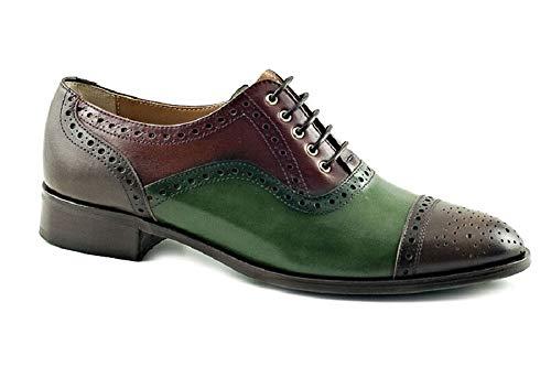Vitelo 8160, Zapato Mujer Piel lavatto marrón/Verde, Cordones