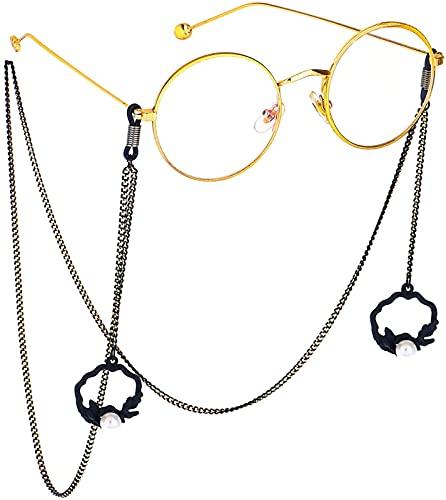 YUIOLIL Cadena de Gafas Moda Simple Perla Negra Flor Cesta Colgante Cadena de Gafas