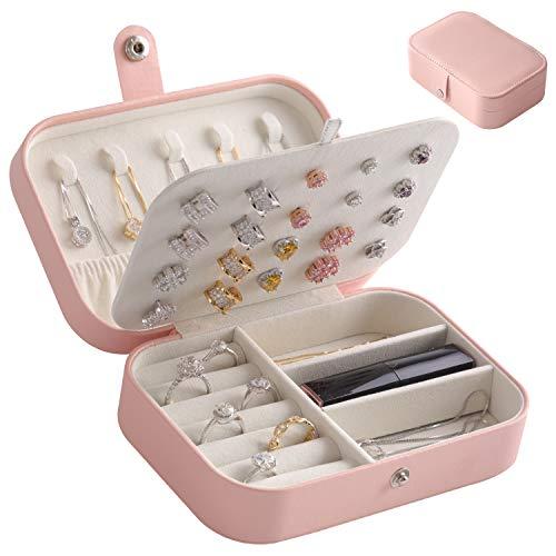 LARLARY Portagioie,Porta Gioielli donna,Organizer Gioielli per Anelli Orecchini Collane e Bracciali,16cm x 11cm x 5cm (Pink)