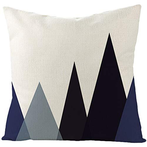 KnBoB Funda de Almohada 40 x 40 cm Lino Negro Azul Oscuro Patrón Montaña Triángulo Estilo 48