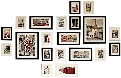 HEWEI 20 fotolijstjes aan de muur, muurschildering met glazen venster, voor hal, woonkamer, meerdere afbeeldingen in 2 kleuren (kleur: stam)