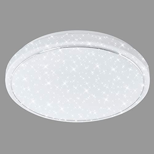 Briloner Leuchten LED Deckenleuchte mit Sternen-Dekor inkl. Chromring, Deckenlampe Farbtemperatursteuerung (warm weiß-neutral Tageslichtweiß), 23 W, Ø 38cm