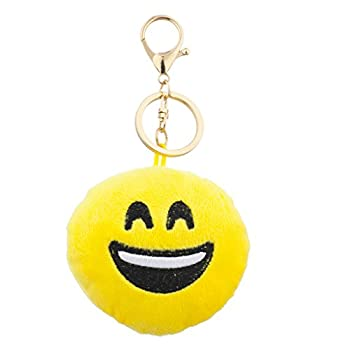 Lux Accessories Yellow Emoji Laughing Face Fabric Pillow Bag Charm Key Chain
