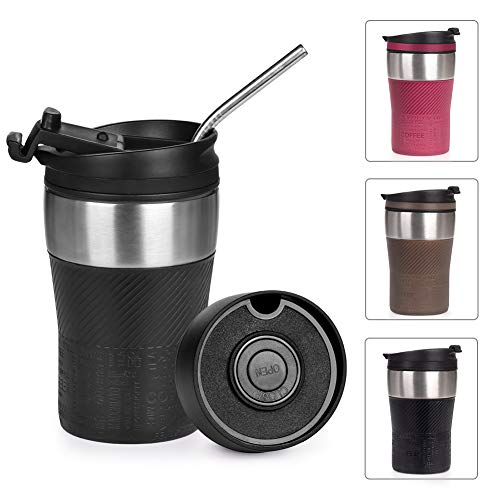 Opard Thermobecher -Travel Mug 210ml, Kaffeebecher to go, Isolierbecher mit Deckel, 100% Auslaufsicher, Trinkbecher aus Edelstahl, Autobecher, doppelwand Isolierung Kaffee to go (Schwarz)