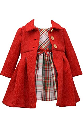Bonnie Jean Girl's Holiday Christmas Dress and Coat Set for Baby, Toddler and Little Girls (3-6 Months), Red Green White Gold