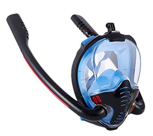 Volador Máscara de buceo de cara completa, antivaho y Leak, sistema de seguridad mejorado, equipo de esnórquel, tubo de doble respiración plegable, visión panorámica de 180°, para adultos y niños