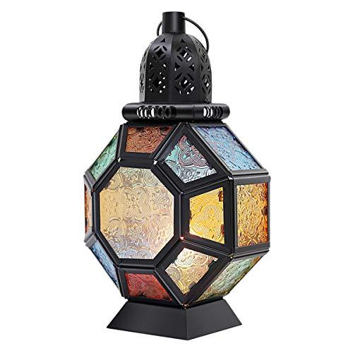Suading Linterna retro de hierro para vela, portátil, marroquí, vidriera, lámpara colgante de luz de caballo, linterna de viento, decoración del hogar