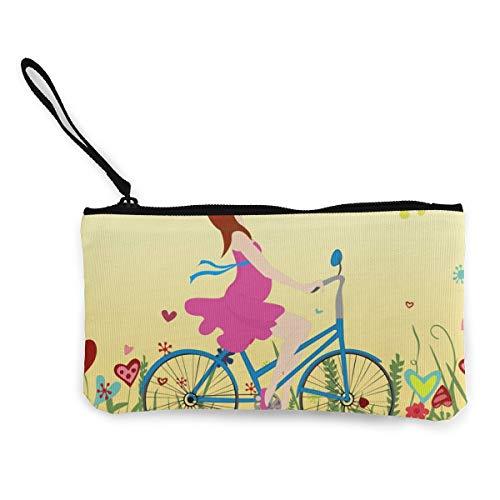Portemonnaie für Schwangere Mädchen mit einem Fahrrad auf einem blühenden Feld, Leinen, Geldbörse für Münzen, Ausweise und andere