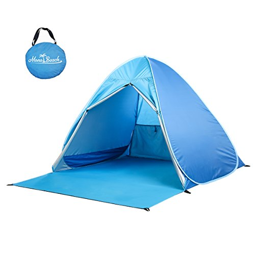 Monobeach Baby Beach Tent Automatic Pop Up Shade Cabana Portable UV Sun Shelter, Blue
