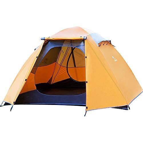 Bessport Ultraleicht Zelte 4-5 Personen, Winddicht &Wasserdicht, 3-4 Saison, Kuppelzelt Einfach für Trekking, Festival, Camping, Rucksack, Familien, Outdoor (Orange)
