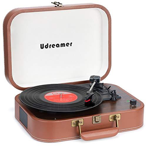 Tocadiscos Maleta Reproductor de Vinilo con Bluetooth Tocadiscos con Altavoces Reproductor de Discos de Vinilo portátil USB de 3 velocidades Reproductor de fonógrafo LP con Correa (Negro) (Marrón)