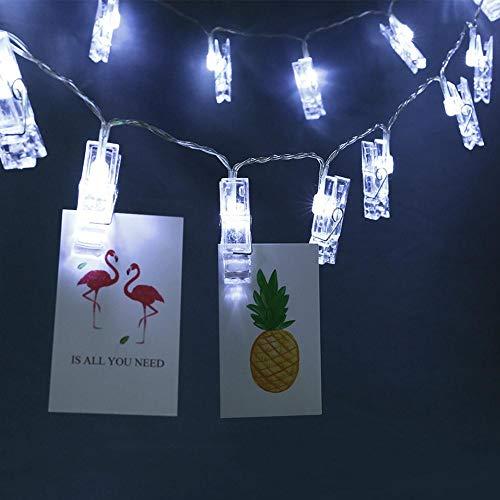 Haofy Cadena de Luces con Clip de Fotos 6.89 pies 20 Luces LED de Cadena de Hadas con 20 Clips para Colgar imágenes, Luces de Cadena de Fotos, decoración de Boda para Fiestas de Navidad(Blanco)